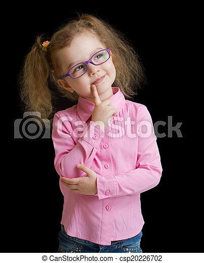 メガネ, 隔離された, 黒, 子供, 女の子, 愛らしい - csp20226702