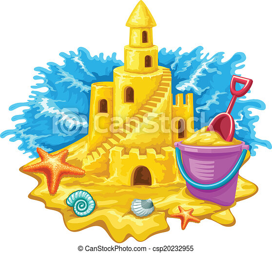 Sand castle with childs toys and blue waves on background - csp20232955