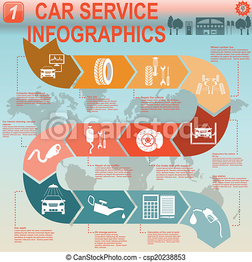 Car Service Repair Infographics