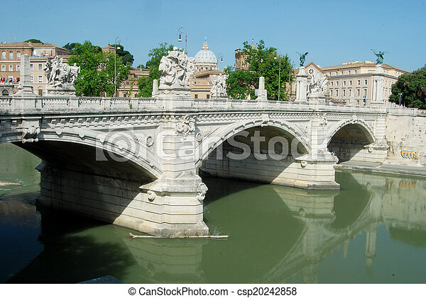 Bridges over the Tiber river in Rome - Italy - csp20242858