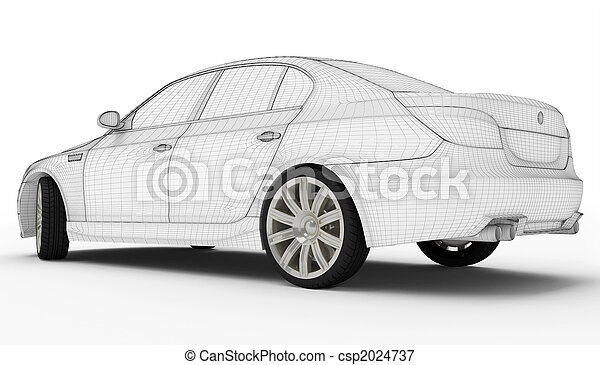Wireframe car - Tires - csp2024737