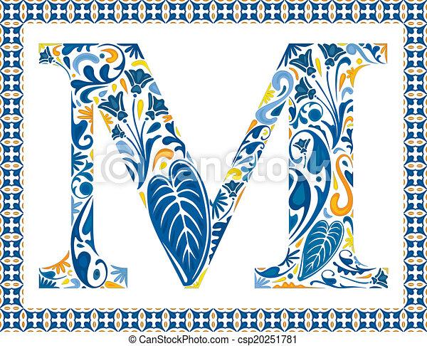 Blue letter M - csp20251781