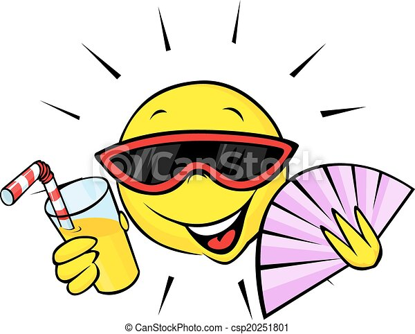 Vector Clipart Of Summer Sun With Fan And Orange Drink