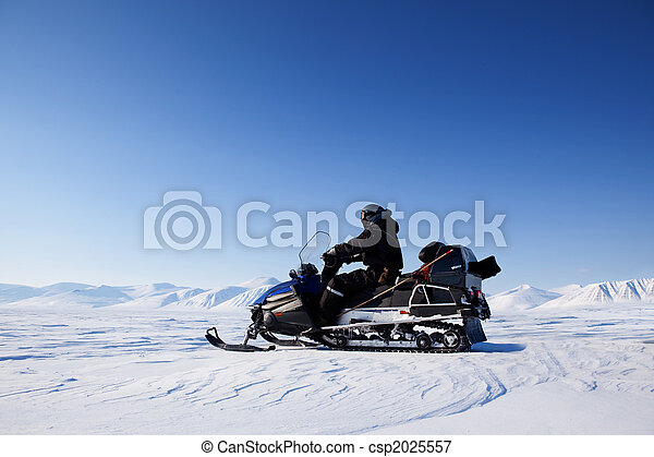 Snowmobile Winter Landscape - csp2025557