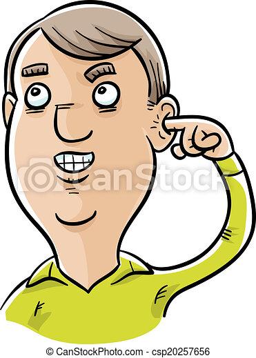Vecteur clipart de sien cueillette oreille homme a - Clipart oreille ...