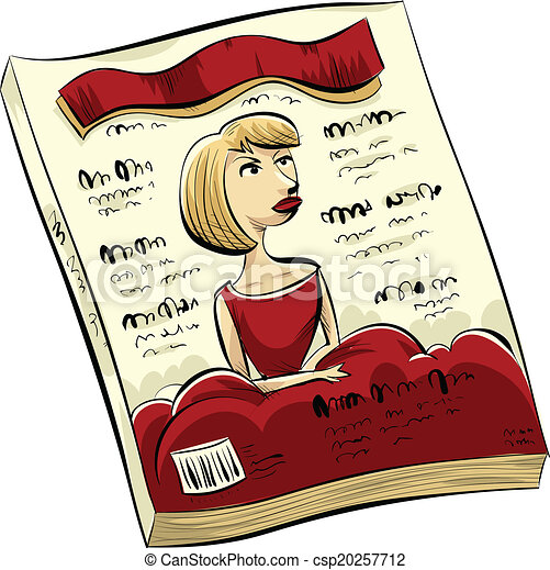 a, 漫画, ファッション, 雑誌, ∥で∥, a, 女, 中に, 赤, 上に, ∥, カバー