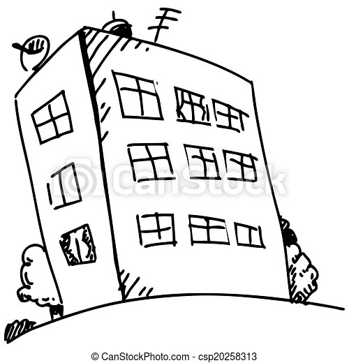 Picture suggestion for Apartment Building Clipart Black And White