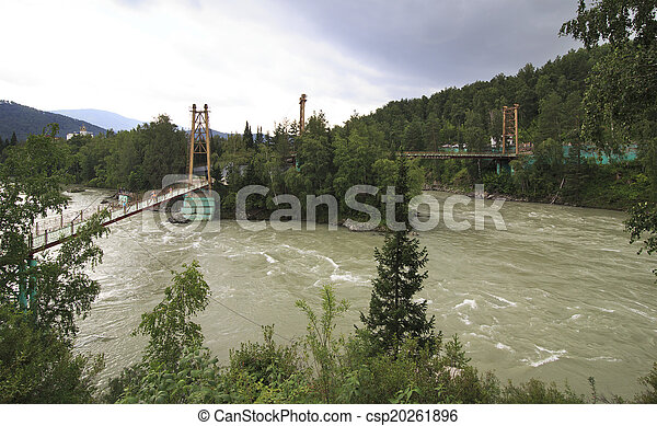 Capital suspension bridges between the islands on the Katun Rive - csp20261896