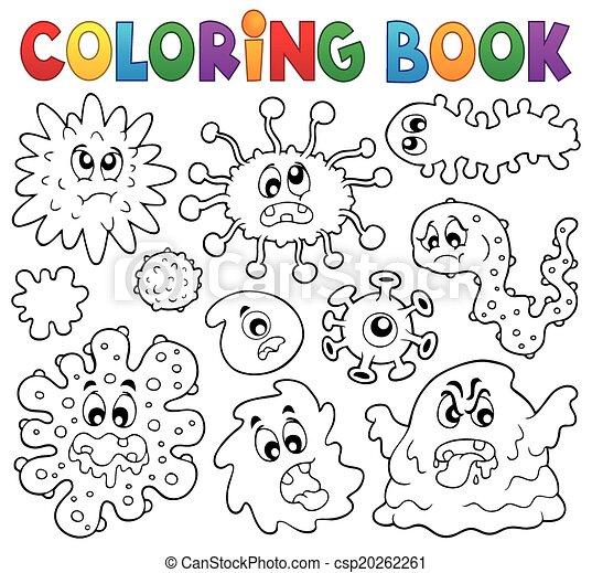 Clip Art Vector of Coloring book germs theme 1 - eps10 vector ...