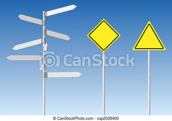 Blank signpost and guard posts. - csp2026400