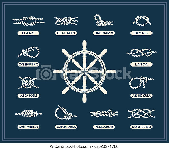Clip Art Vector of Nautical rope knots set - Vintage illustrations of ...