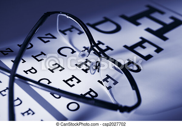 Glasses and eytest chart differential focus   - csp2027702