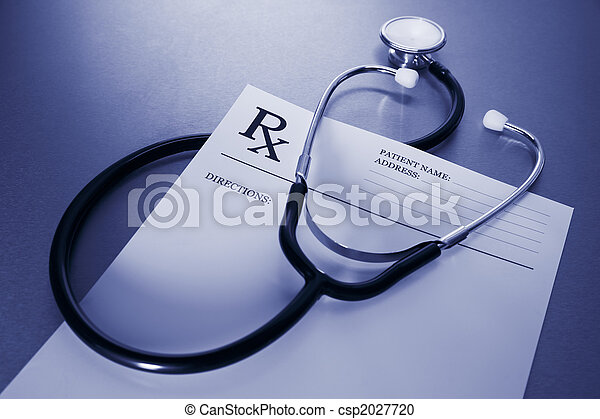 RX prescription form and stethoscope on stainless steel desk - csp2027720