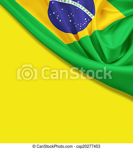 Flag of Brazil on yellow background. Clipping path for flag is i - csp20277453