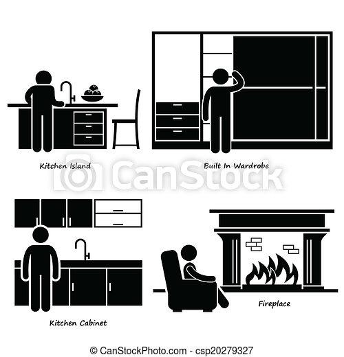 가정, Built-in, 가구, 아이콘 - a, 세트, 의, 인간, pictogram, 을 ...
