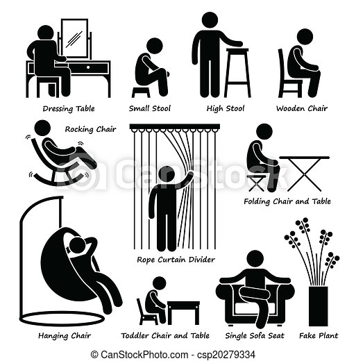 Vectors Of Furniture And Decorations Icons A Set Of