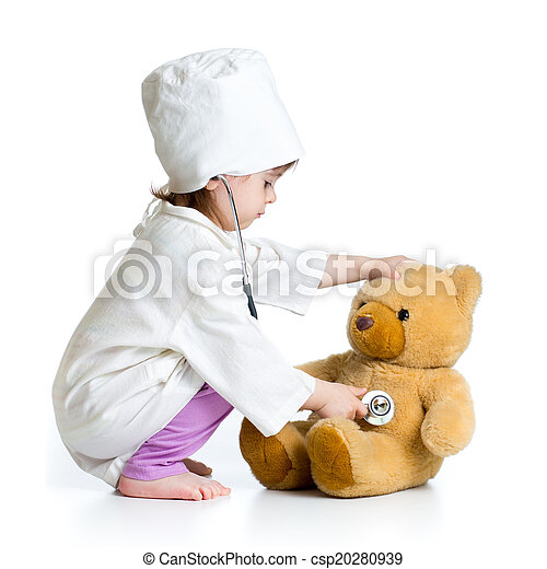 kid girl playing doctor with toy - csp20280939
