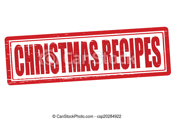 Vector Illustration of Christmas recipes - Stamp with text ...
