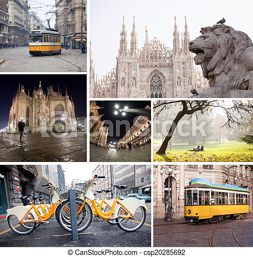 Milano streets with cathedral, vintage tram, bicycles - csp20285692