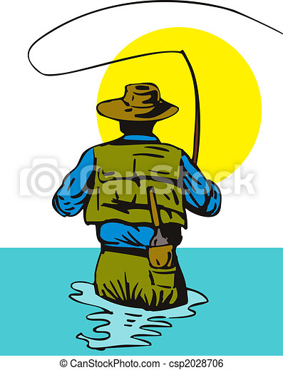 Fisherman casting rear view - csp2028706