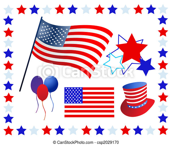 Elements and icons related to American patriotism - csp2029170