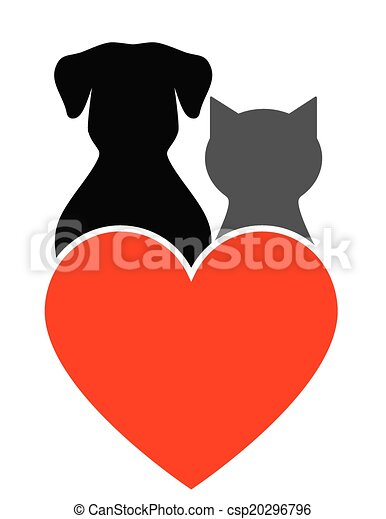 vecteurs eps de coeur  chien  chat chien  chat dog and cat clip art images free dog and cat clip art images