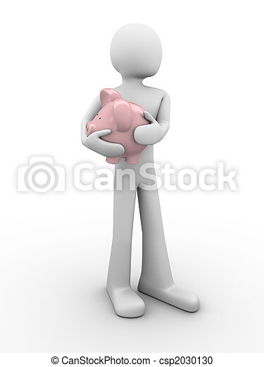 Man protects savings holds piggybank in hands - csp2030130