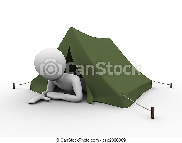 Man crawling out from the tent - csp2030309