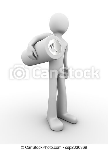 Man standing and holding battery - csp2030369