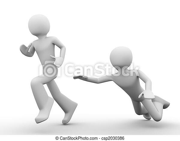hombre, Saltar, Tratar, coger, Funcionamiento, afuera, hombre - csp2030386
