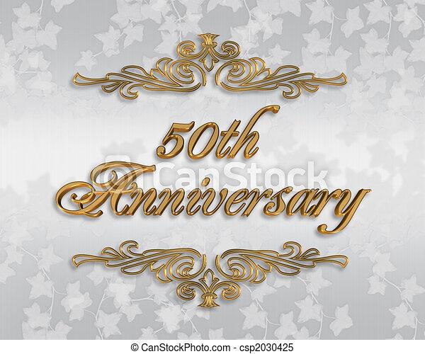 Stock Photo 50th Wedding anniversary invitation