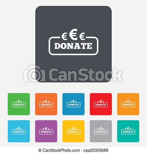 Donate sign icon. Euro eur symbol. - csp20305689
