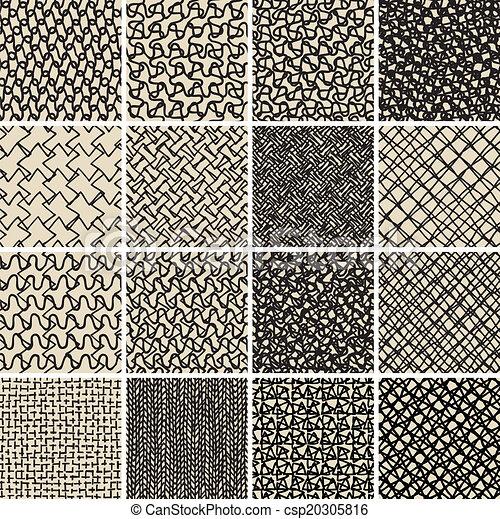 Clip art vecteur de fondamental griffonnage seamless for Dessin graphique noir et blanc