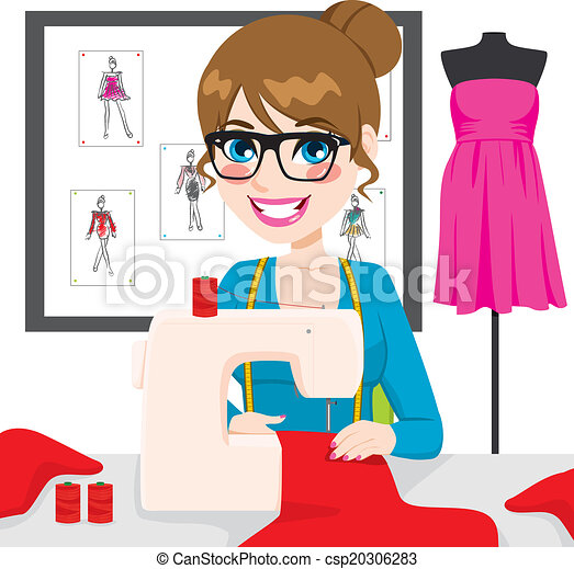 Vector Of Dressmaker Woman Using Sewing Machine