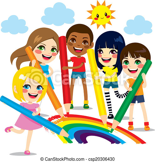 children drawing rainbow csp20306430 - Cartoon Drawings Of Children