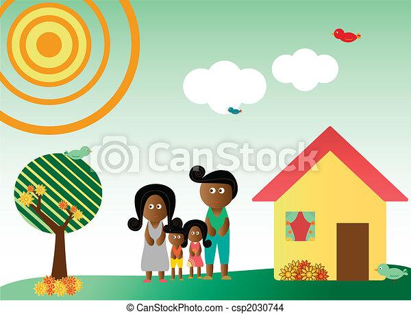 Retro style family in landscape - csp2030744