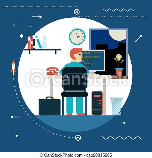 프로그램, 웹, 발달, 개념, 상징, 프로그래머,... csp20315285의 벡터 ...