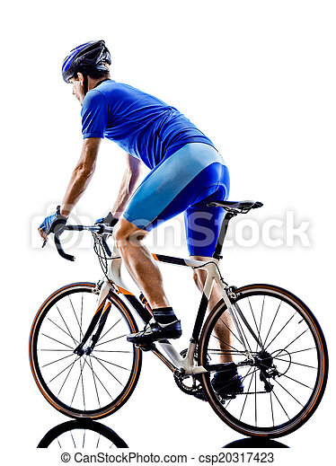 cyclist cycling road bicycle rear view silhouette - csp20317423