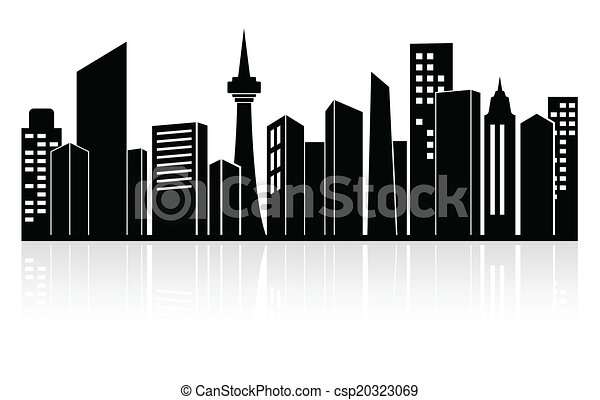 Clip Art Vector of Urban landscape or city skyline - Black ...