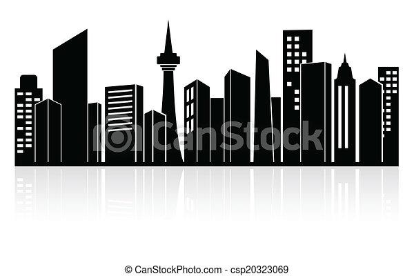 Clip Art Vector of Urban landscape or city skyline - Black ...