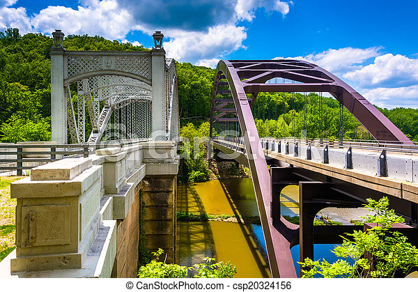Bridges over Loch Raven Reservoir, in Baltimore, Maryland.  - csp20324156