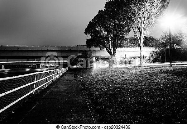 Path and bridges along the Potomac River at night, in Washington - csp20324439