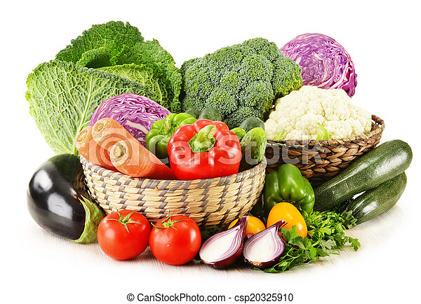 Variety of fresh organic vegetables isolated on white - csp20325910