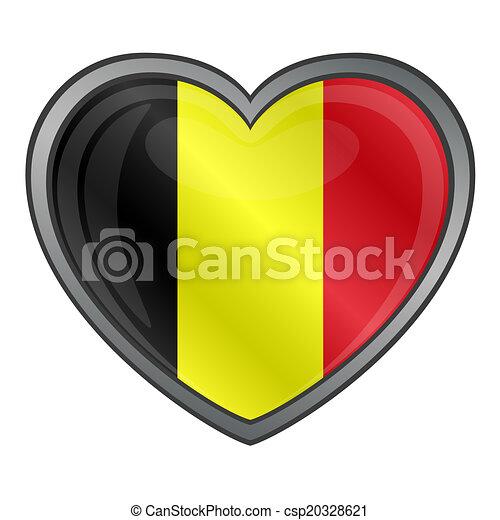 Illustration vecteur de belgique coeur drapeau lustr - Bouton de liege ...