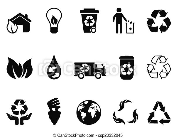 black recycling icons set - csp20332045