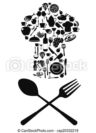 Vector Clip Art of chef symbol with spoon and knife - the chef ...
