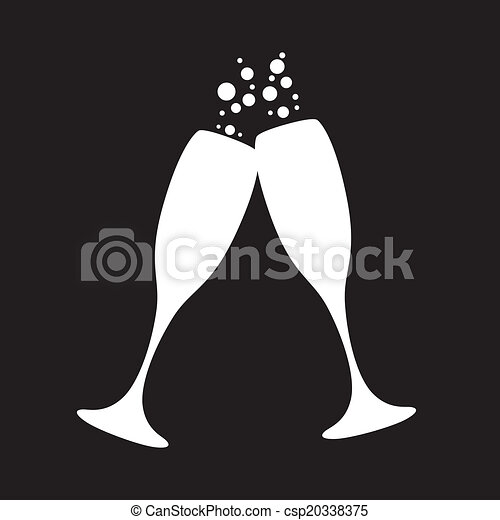 Vectors Illustration Of Champagne Glasses Black And White Champagne
