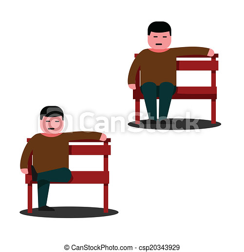 of Man sitting on a park bench vector - Man sitting on a park ...