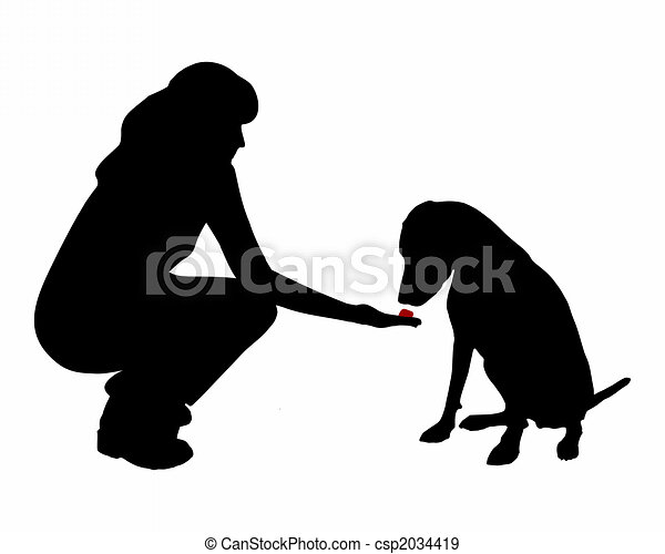 Dog training (obedience): command:don�t eat, wait - csp2034419