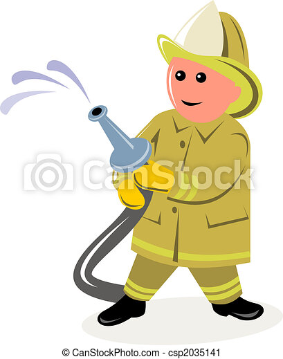 Fireman holding running hose 3D style - csp2035141